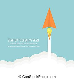 paper plane's engine is idea, can launch to creative space like a rocket, thinking concept, flatstyle