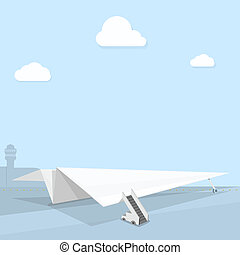 paper plane on airport runway, vector illustration