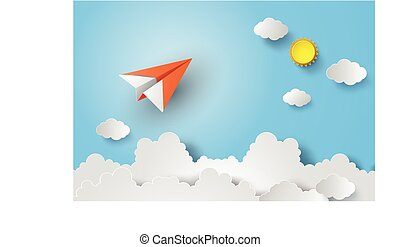 paper plane on blue sky with sunshine.