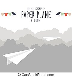 Paper plane on cloud.