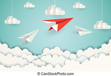 paper plane red and white flying up to the sky while fly above a cloud and city. business finance success. leadership. creative idea. illustration cartoon vector
