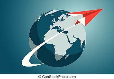 paper plane red flying out launch from the earth. business finance success. leadership. startup. creative idea. illustration cartoon vector
