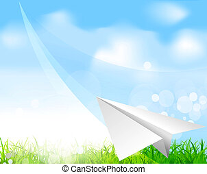 paper plane soaring against the blue sky