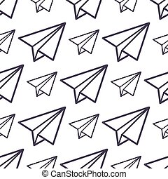 Paper plane vector icon seamless pattern business freedom conept background illustration fly paper plane isolated kids toy.