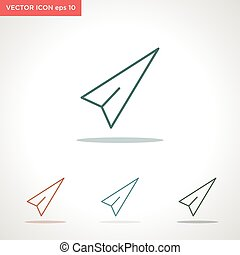 paper plane vector line icon isolated on white background