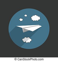 Paper plane with clouds on blue background in flat style. Vector illustration.