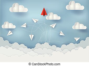 Paper planes are competing to destinations Up to the sky. Business Financial concepts are competing for success and corporate goals. Failure. There is a high competition. start up. paper art style
