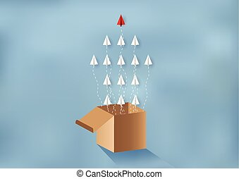Paper planes are competing to destinations Up to the sky There is a red flag on the cloud. Business Financial concepts are competing for success and corporate goals. Failure. start up. paper art style