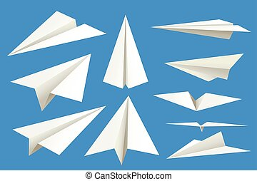 illustration of set white color paper airplanes isolated on blue background