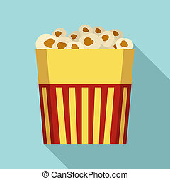 Paper popcorn box icon, flat style