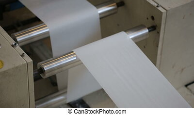 Paper production at paper manufacturing factory