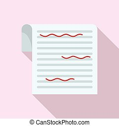 Paper proofread icon, flat style - Paper proofread icon. ...