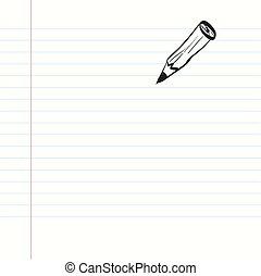 paper., quaderno, pencil., vuoto, vector.
