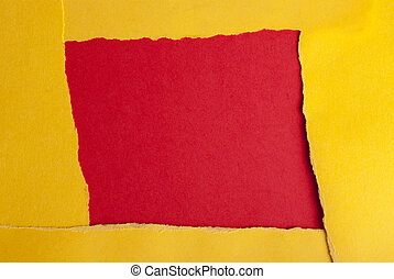 Paper Quater - A Yellow Frame on a Red Square, Paper...