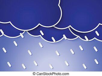 Paper rain clouds and rains