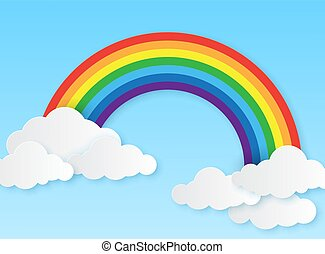 Paper rainbow. Clouds and rainbow on sky origami style, wallpaper for childrens bedroom, baby room craft design colorful vector background