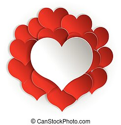 Paper red hearts background with white heart. Vector concept illustration