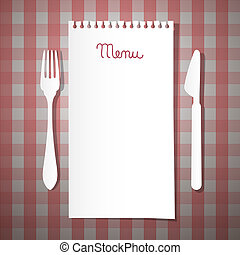 Paper Restaurant Menu with Knife and Fork on Pink Tablecloth