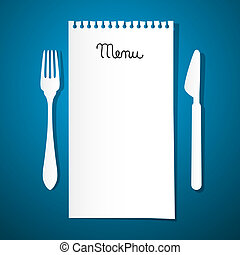 Paper Restaurant Menu with Knife and Fork on Blue Background