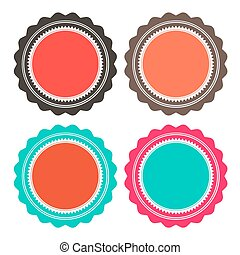 Paper Retro Vector Circle Empty Labels Set Isolated on White Background