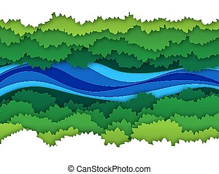 Paper river. Top view water stream surrounded by jungle forest trees baldachin. Creative origami natural aerial vector landscape