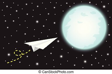 Paper Rocket Flying To The Moon