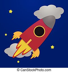 Paper rocket on night sky backgroun