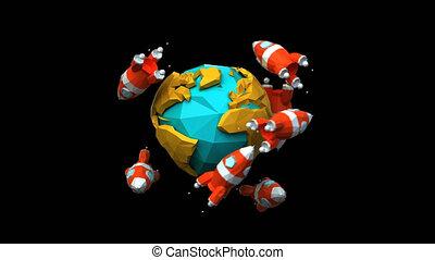 Paper rockets around the world - 4K digital animation
