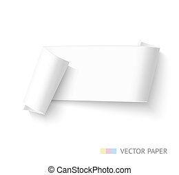 Blank paper roll banner. Realistic horizontal vector paper ribbon for sale advertising. Curved paper template.