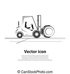 Paper roll forklift icon. Vector illustration