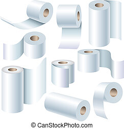 Paper roll set in different positions isolated on white