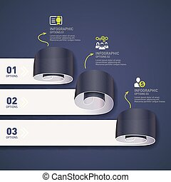 Paper rolls modern infographic concept vector