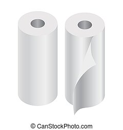Paper rolls set of two isolated on white