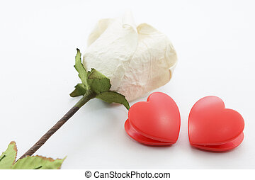 Paper rose and heart
