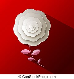 Paper Rose Flower on Red Background