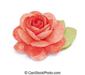 paper rose on white