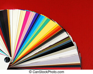 Paper samples for business cards - Colored samples of...