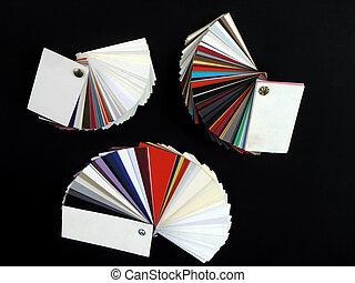 Paper samples on black bakground