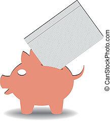paper savings - illustration of a paper entering a piggy...