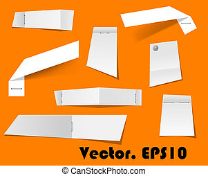 Paper scraps and notes attached with stapler for any office, business or remind cocnept design