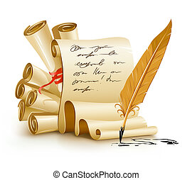 paper scripts with handwriting text and old ink feather illustration, isolated on white background. Gradient mesh used for shadow drawing.