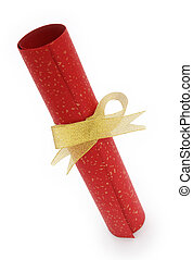 paper scroll and gold bow with clipping path