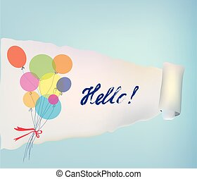 Paper scroll background with baloons and hello for banner or...
