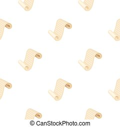 Paper scroll icon in cartoon style isolated on white background. Theater pattern stock vector illustration