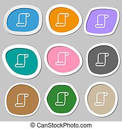 paper scroll icon symbols. Multicolored paper stickers.
