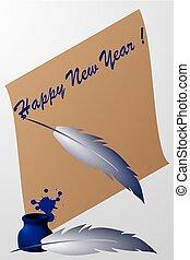 Paper scroll with feather pen and ink - Happy New Year! -...