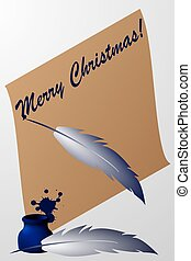 Paper scroll with feather pen and ink - Merry Christmas! -...