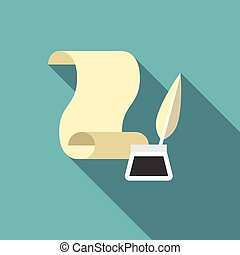 paper scroll with feather pen and ink well for writer icon, flat design