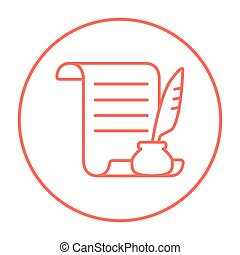 Paper scroll with feather pen line icon.