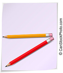 Paper scroll with pencil. Vector